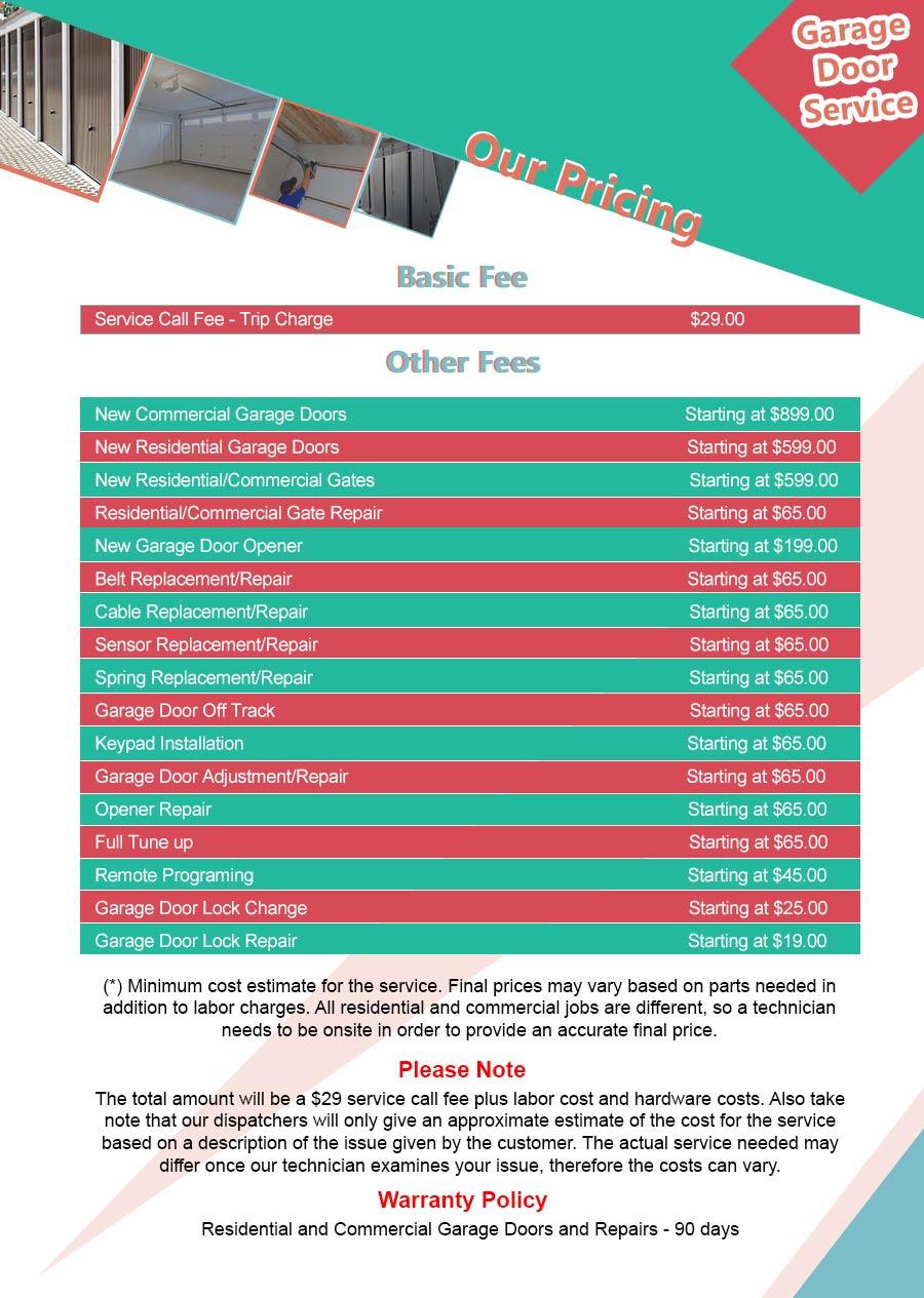 Price List Central Garage Door Service